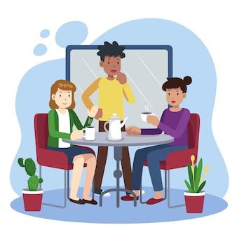 Ręcznie rysowane ludzie z ilustracjami gorących napojów