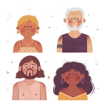Ręcznie rysowane ludzie z oparzeniami słonecznymi