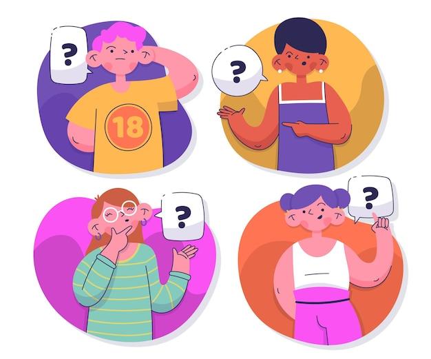 Ręcznie rysowane ludzie zadający pytania kolekcja