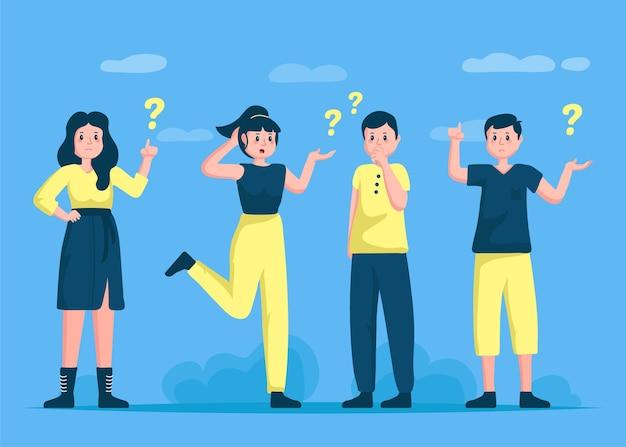Ręcznie Rysowane Ludzie Zadający Pytania Kolekcja Premium Wektorów