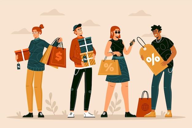 Ręcznie rysowane ludzie zakupy na ilustracji sprzedaży