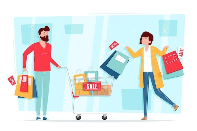Ręcznie rysowane ludzie zakupy na sprzedaż
