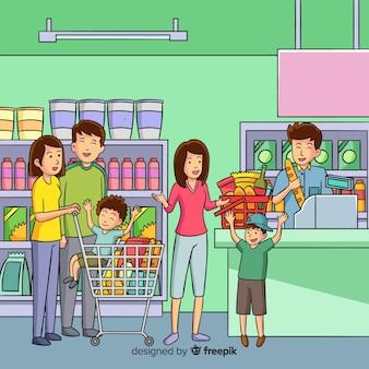 Ręcznie rysowane ludzie zakupy w tle supermarketu