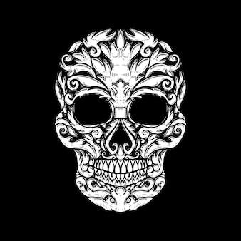 Ręcznie rysowane ludzkiej czaszki wykonane kształty kwiatowe. element projektu plakatu, koszulki. ilustracji wektorowych