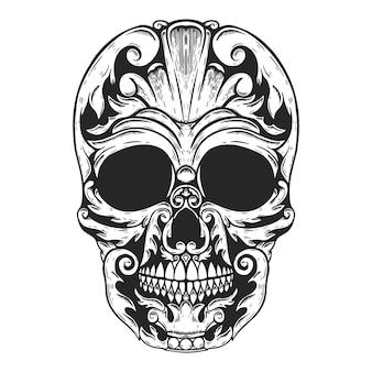 Ręcznie rysowane ludzkiej czaszki wykonane kształty kwiatowe.