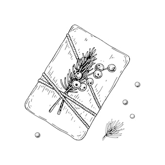 Ręcznie rysowane luksusowe pudełko na prezent