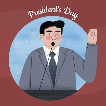 Ręcznie rysowane macha kandydata na dzień prezydenta