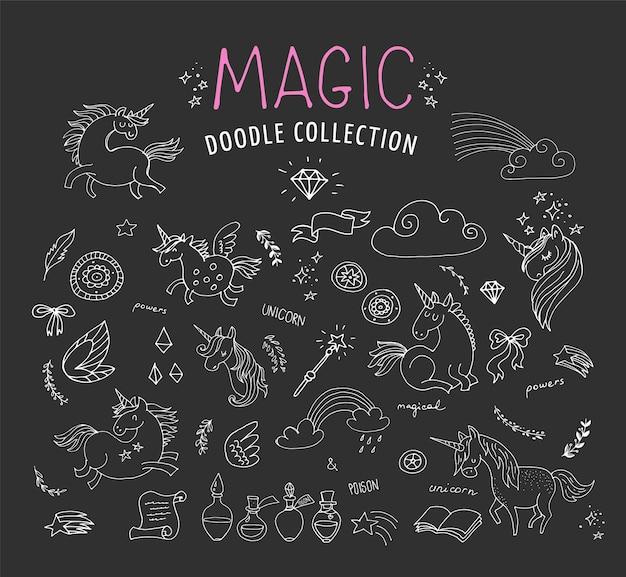 Ręcznie rysowane, magia, gryzmoły jednorożca i wróżki, szkice
