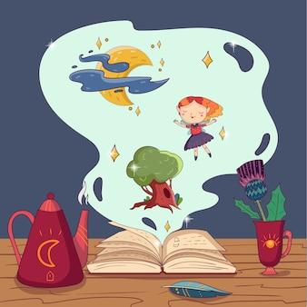 Ręcznie rysowane magiczna książka, czajnik, pióro pióra i kubek z kwiatkiem na drewnianym stole. wróżka, dąb i księżyc z gwiazdami w chmurze fantasy. bajkowa historia