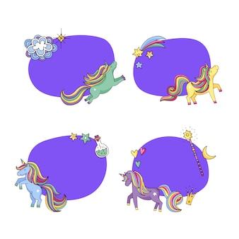 Ręcznie rysowane magiczne jednorożce i gwiazdy