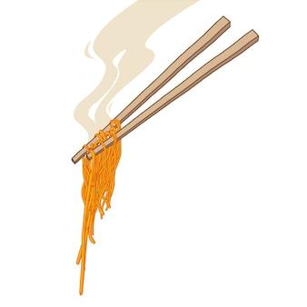 Ręcznie rysowane makaron z pałeczką