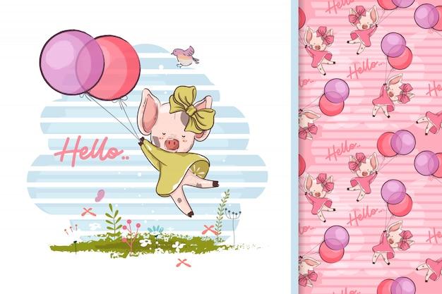 Ręcznie rysowane małą świnię z balonami