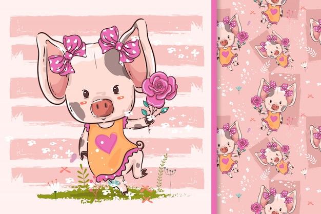 Ręcznie rysowane małą świnię z kwiatami