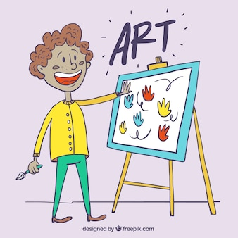 Ręcznie rysowane malarz z płótna