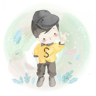 Ręcznie rysowane małego chłopca.
