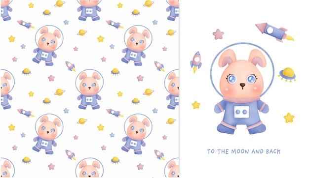 Ręcznie rysowane mały królik w galaktyce wzór i kartkę z życzeniami do scrapbookingu, papier pakowy, zaproszenia.