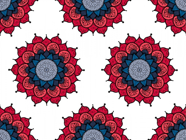 Ręcznie rysowane mandali bez szwu. arabski, indyjski, turecki i ottoman kultura decoratio