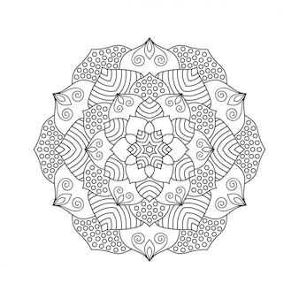 Ręcznie rysowane mandali kwiat do kolorowania książki.