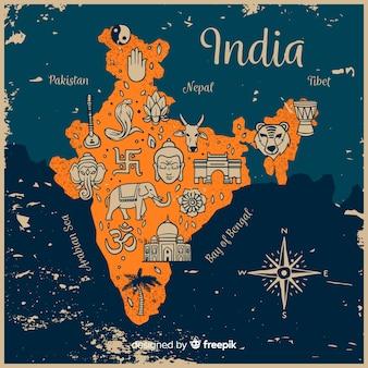 Ręcznie rysowane mapę indii