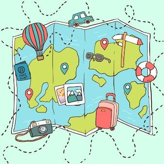 Ręcznie rysowane mapę z elementami podróży