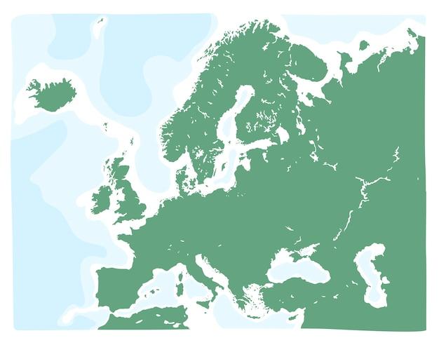Ręcznie rysowane mapy wektorowej europy w kolorze zielonym