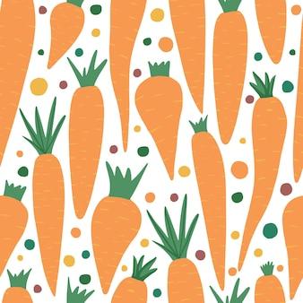 Ręcznie rysowane marchew wzór na białym tle. doodle marchew tapety. projektowanie tkanin, nadruków na tekstyliach, papieru do pakowania, tekstyliów dziecięcych. ilustracja wektorowa