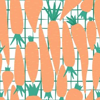 Ręcznie rysowane marchew wzór na tle paski. doodle marchew tapety. projekt dla tkanin, nadruków na tekstyliach, papieru do pakowania, tekstyliów dziecięcych. ilustracja wektorowa