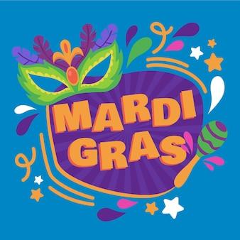 Ręcznie rysowane mardi gras maska i tekst