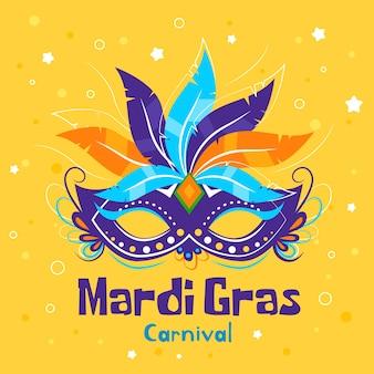 Ręcznie rysowane mardi gras z maską i piórami