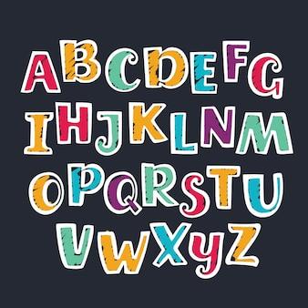 Ręcznie rysowane marker kolorowe wielkie litery alfabetu.