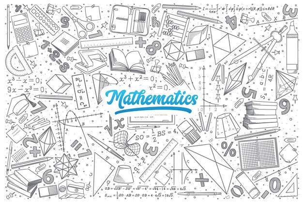 Ręcznie rysowane matematyka doodle ustawić tło z niebieskim napisem