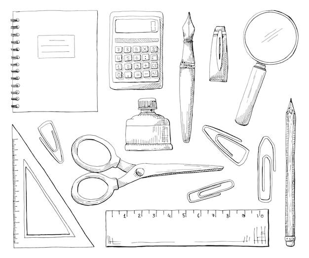 Ręcznie rysowane materiały biurowe na białym tle. ilustracja wektorowa stylu szkicu.