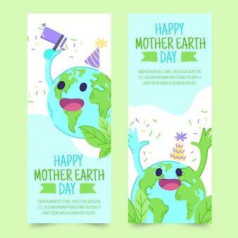 Ręcznie rysowane matka dzień ziemi kolekcja transparent