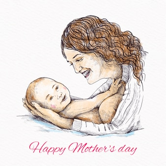 Ręcznie rysowane matka trzyma jej dziecko