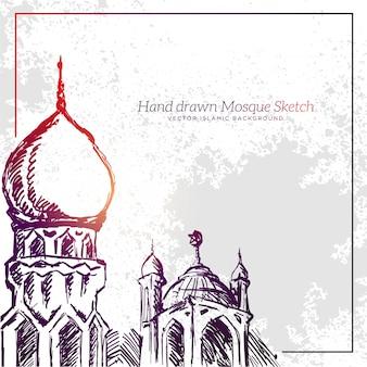 Ręcznie rysowane meczet szkic ilustracji