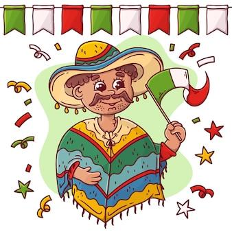 Ręcznie rysowane meksyk dzień niepodległości