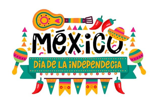 Ręcznie rysowane meksykański dzień niepodległości