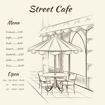Ręcznie rysowane menu kawiarni ulicznej