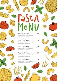 Ręcznie rysowane menu makaronów może być używane do menu kawiarni restauracji ulicznego festiwalu lub targu rolników