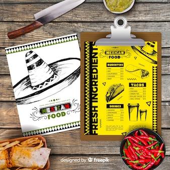 Ręcznie rysowane menu meksykańskie jedzenie