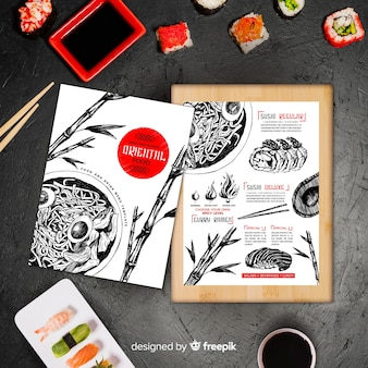 Ręcznie rysowane menu orientalne jedzenie