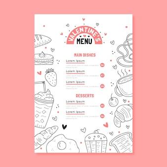 Ręcznie rysowane menu szablon walentynki