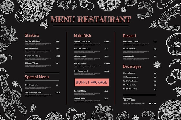 Ręcznie rysowane menu tablicy dla restauracji