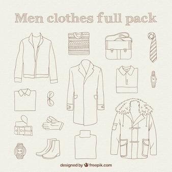 Ręcznie rysowane mężczyzn ubrania pełny pakiet