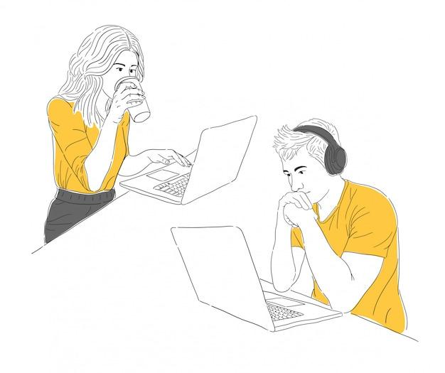 Ręcznie rysowane mężczyzna i kobieta pracująca z ilustracją laptopa