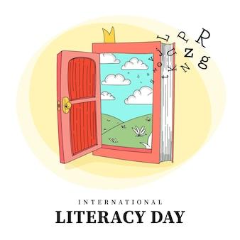 Ręcznie rysowane międzynarodowy dzień alfabetyzacji