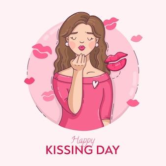 Ręcznie rysowane międzynarodowy dzień całowania ilustracja z kobietą