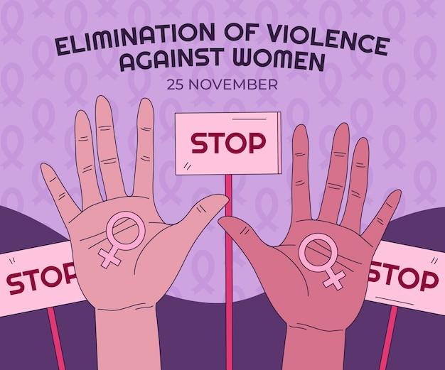 Ręcznie rysowane międzynarodowy dzień eliminacji przemocy wobec kobiet ilustracja