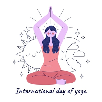 Ręcznie rysowane międzynarodowy dzień ilustracji jogi