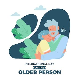 Ręcznie rysowane międzynarodowy dzień ilustracji osób starszych